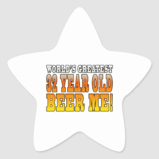 Funny 32nd Birthdays : Worlds Greatest 32 Year Old Star Sticker
