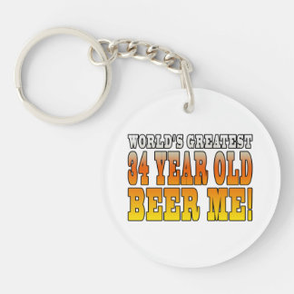 Funny 34th Birthdays : Worlds Greatest 34 Year Old Keychain