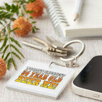 Funny 34th Birthdays : Worlds Greatest 34 Year Old Single-Sided Square Acrylic Keychain