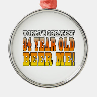 Funny 34th Birthdays : Worlds Greatest 34 Year Old Round Metal Christmas Ornament
