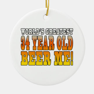 Funny 34th Birthdays : Worlds Greatest 34 Year Old Double-Sided Ceramic Round Christmas Ornament