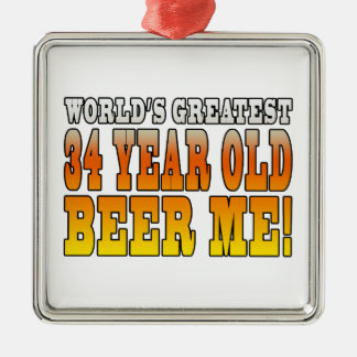 Funny 34th Birthdays : Worlds Greatest 34 Year Old Square Metal Christmas Ornament