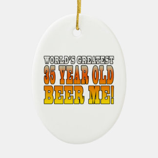 Funny 35th Birthdays : Worlds Greatest 35 Year Old Double-Sided Oval Ceramic Christmas Ornament