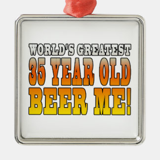 Funny 35th Birthdays : Worlds Greatest 35 Year Old Square Metal Christmas Ornament