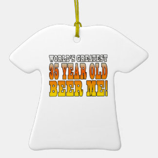 Funny 35th Birthdays : Worlds Greatest 35 Year Old Double-Sided T-Shirt Ceramic Christmas Ornament