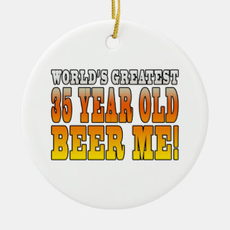 Funny 35th Birthdays : Worlds Greatest 35 Year Old Double-Sided Ceramic Round Christmas Ornament