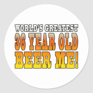 Funny 36th Birthdays : Worlds Greatest 36 Year Old Classic Round Sticker