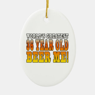 Funny 36th Birthdays : Worlds Greatest 36 Year Old Double-Sided Oval Ceramic Christmas Ornament