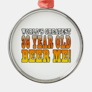 Funny 36th Birthdays : Worlds Greatest 36 Year Old Round Metal Christmas Ornament