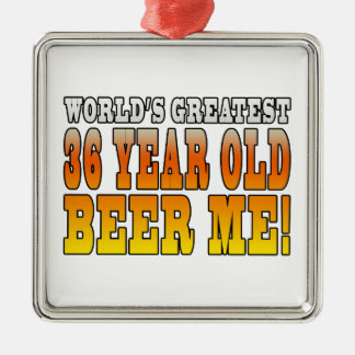 Funny 36th Birthdays : Worlds Greatest 36 Year Old Square Metal Christmas Ornament