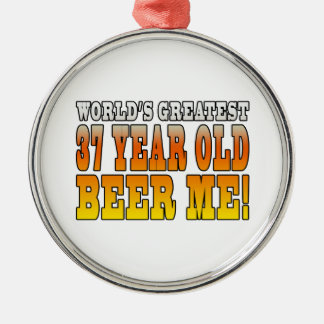 Funny 37th Birthdays : Worlds Greatest 37 Year Old Round Metal Christmas Ornament