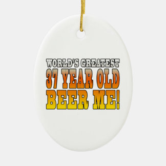 Funny 37th Birthdays : Worlds Greatest 37 Year Old Double-Sided Oval Ceramic Christmas Ornament