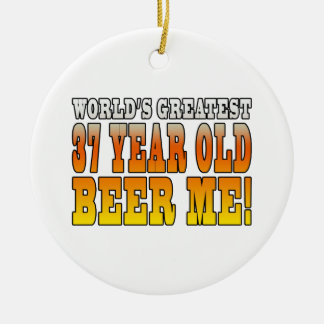 Funny 37th Birthdays : Worlds Greatest 37 Year Old Double-Sided Ceramic Round Christmas Ornament