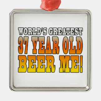 Funny 37th Birthdays : Worlds Greatest 37 Year Old Square Metal Christmas Ornament