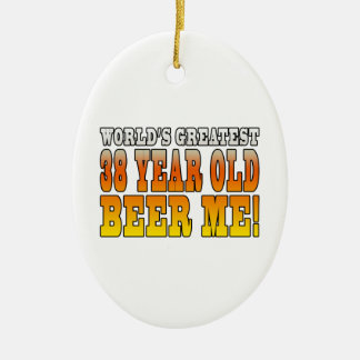 Funny 38th Birthdays : Worlds Greatest 38 Year Old Double-Sided Oval Ceramic Christmas Ornament