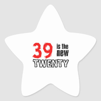 Funny 39 year designs star sticker