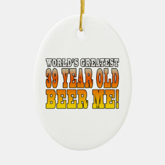 Funny 39th Birthdays : Worlds Greatest 39 Year Old Double-Sided Oval Ceramic Christmas Ornament