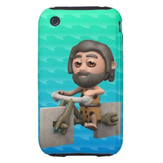 Funny 3d Caveman Bike Square Wheels iPhone 3 Tough Covers
