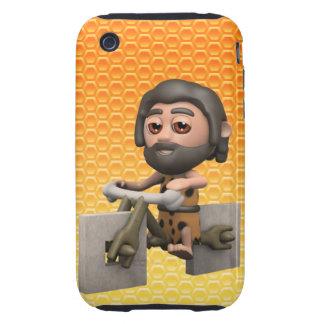 Funny 3d Caveman Bike Square Wheels iPhone 3 Tough Cover