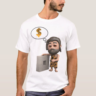 Funny 3d Caveman invents the wheel... T-Shirt