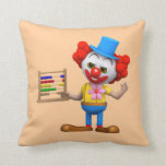 Funny 3d Clown with Abacus (editable) Throw Pillow