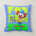 Funny 3d Clown with Abacus Throw Pillow