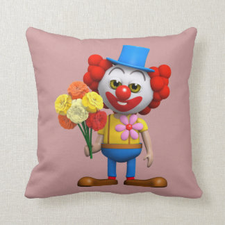 Funny 3d Clown with Flowers (editable) Throw Pillow