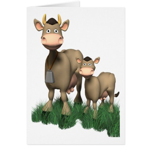 Funny 3D Cows Greeting Card