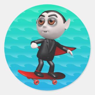 Funny 3d Dracula Skateboarding Classic Round Sticker