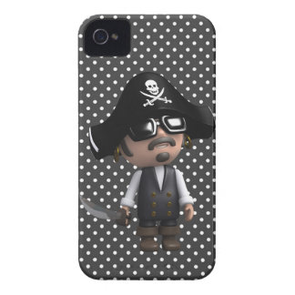 Funny 3d Pirate in sunglasses (editable) Case-Mate iPhone 4 Cases