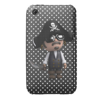 Funny 3d Pirate in sunglasses (editable) iPhone 3 Cover