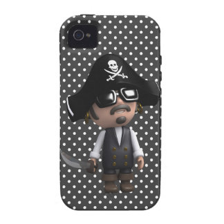 Funny 3d Pirate in sunglasses (editable) iPhone 4/4S Case