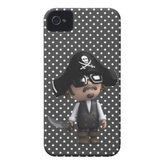 Funny 3d Pirate in sunglasses (editable) iPhone 4 Cover