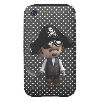 Funny 3d Pirate in sunglasses (editable) Tough iPhone 3 Case