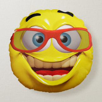 Funny 3d smiley emoticon round pillow