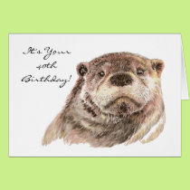 Funny 40th Birthday Cute Otter Nature, Wildlife Card