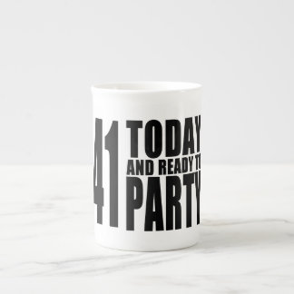 Funny 41st Birthdays : 41 Today and Ready to Party Tea Cup