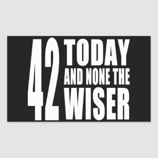 Funny 42nd Birthdays : 42 Today and None the Wiser Rectangular Sticker