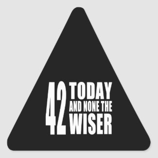 Funny 42nd Birthdays : 42 Today and None the Wiser Triangle Sticker