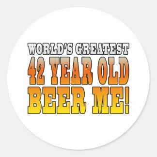 Funny 42nd Birthdays : Worlds Greatest 42 Year Old Classic Round Sticker