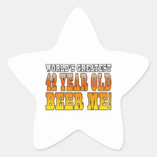 Funny 42nd Birthdays : Worlds Greatest 42 Year Old Star Sticker