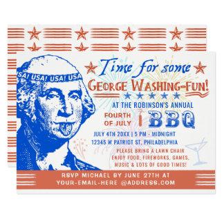 Funny 4th of July BBQ Barbecue Party   Washington Invitation