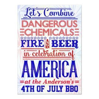 Funny 4th of July BBQ Party   Humorous Barbecue Invitation
