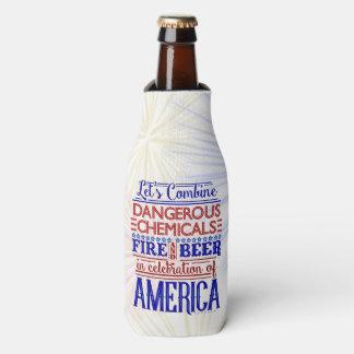 Funny 4th of July Beer Fireworks   Custom Name Bottle Cooler