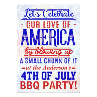 Funny 4th of July Fireworks BBQ | Barbecue Party Card