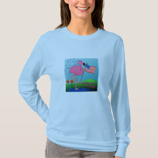 Funny 4th of July Flamingo Ladies Shirt
