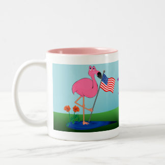 Funny 4th of July Flamingo Mug