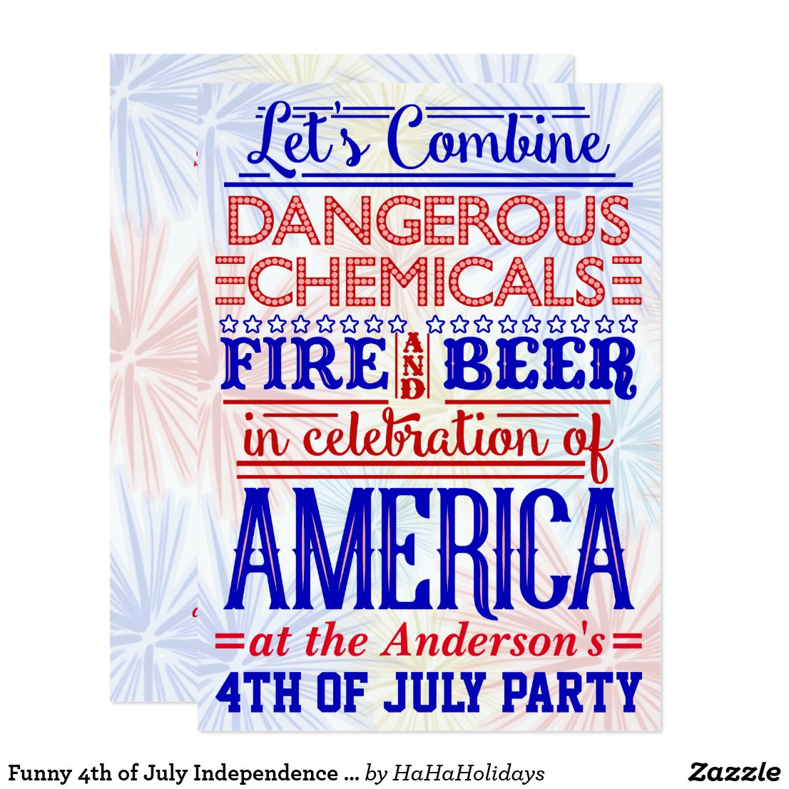 Funny 4th of July Independence Day Party Humor Card