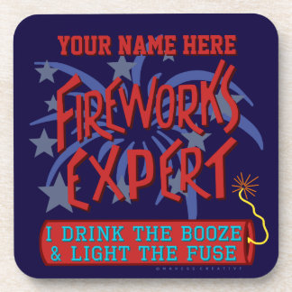 Funny 4th of July Independence Fireworks Expert Drink Coaster
