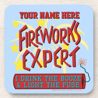 Funny 4th of July Independence Fireworks Expert Drink Coasters